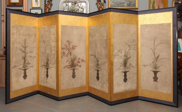 Beautiful Six-Panel Antique Japanese Screen 2