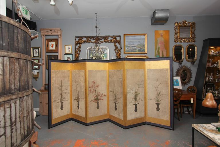 Beautiful Six-Panel Antique Japanese Screen 3