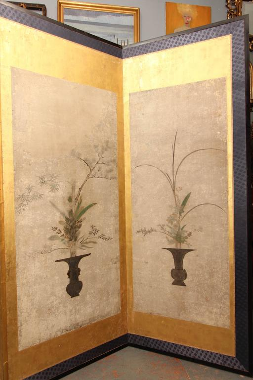 Beautiful Six-Panel Antique Japanese Screen For Sale 1