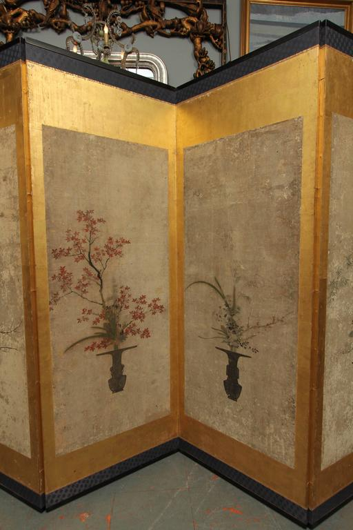 Beautiful Six-Panel Antique Japanese Screen 6