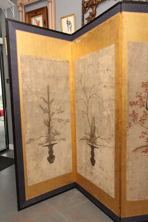 Beautiful Six-Panel Antique Japanese Screen 7