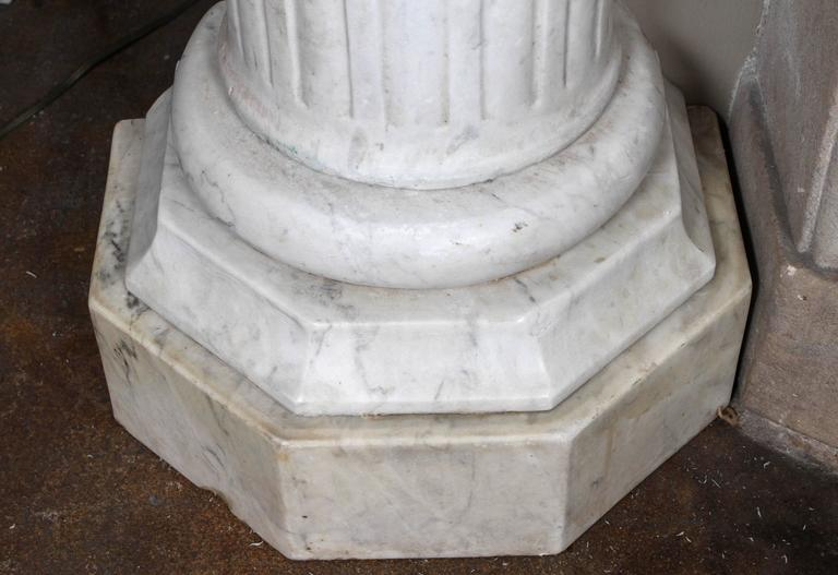 Pair of Early 19th Century Carved Marble Columns For Sale 4