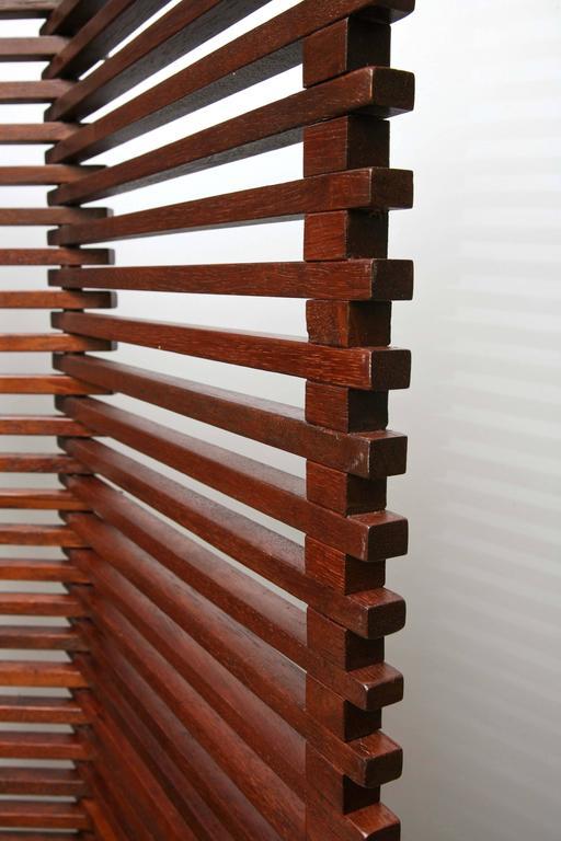 Mid Century Modern Tall Solid Wood Slat Room Divider