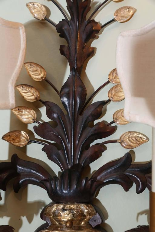Pair of Wall Sconces with Two Lights, circa 1930, style of Maison Baguès In Excellent Condition For Sale In Houston, TX