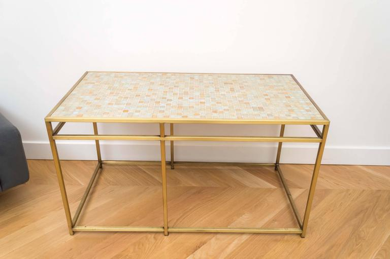 Tiled Console Table ~ Brass tile top console table for sale at stdibs