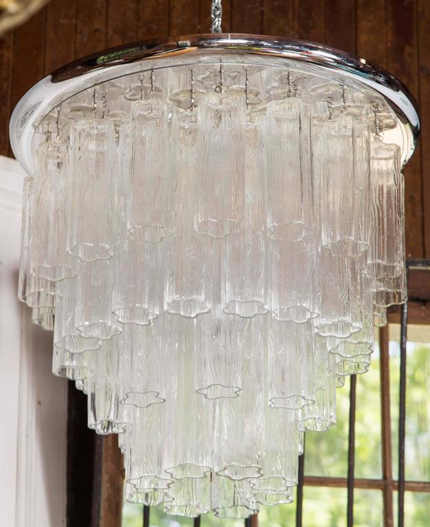 Large chrome disk flush mount Tronchi chandelier.