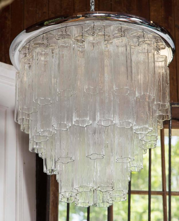 Italian Tronchi Chandelier with Chrome Disk In Excellent Condition For Sale In Stamford, CT