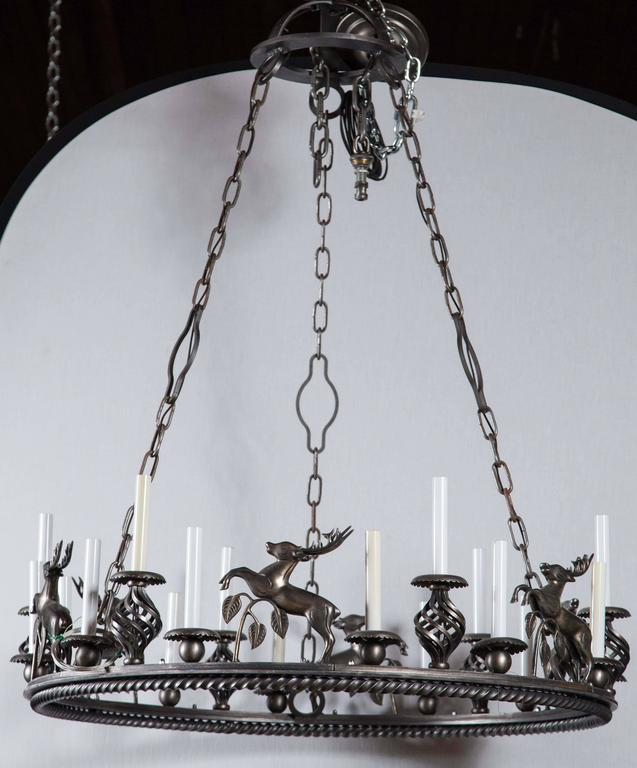 Large Custom-Made Leaping Stag Chandelier 3