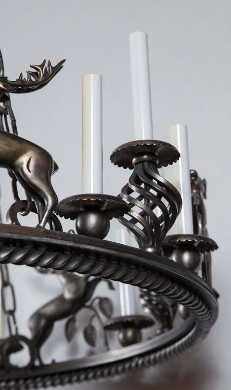 Large Custom-Made Leaping Stag Chandelier 5