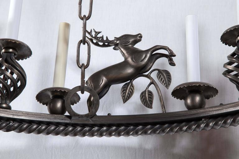 Large Custom-Made Leaping Stag Chandelier 6