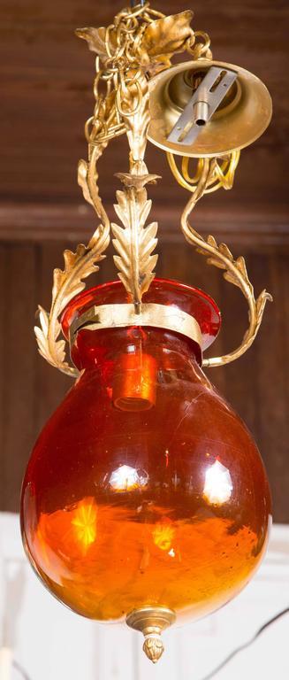 Orange glass bell jar lantern. New old stock. Includes canopy.