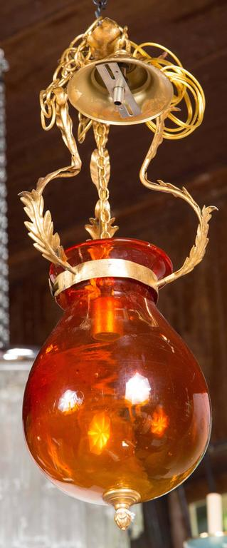 Italian Orange Glass Bell Jar Lantern In Excellent Condition For Sale In Stamford, CT