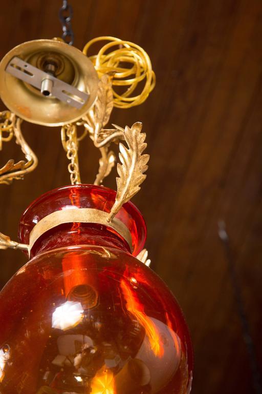 Italian Orange Glass Bell Jar Lantern For Sale 1