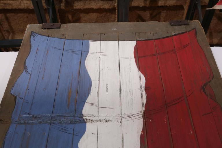 Late 19th Century Large Antique French Barn Door with Flag of France Painting For Sale