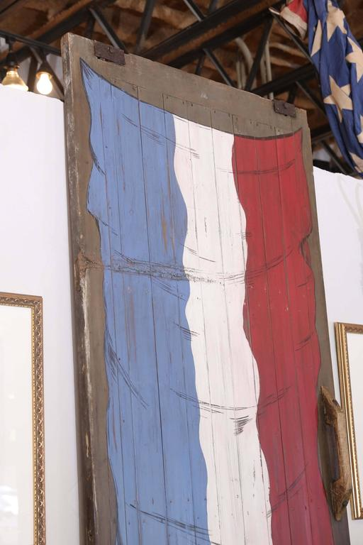 Large Antique French Barn Door with Flag of France Painting For Sale 2
