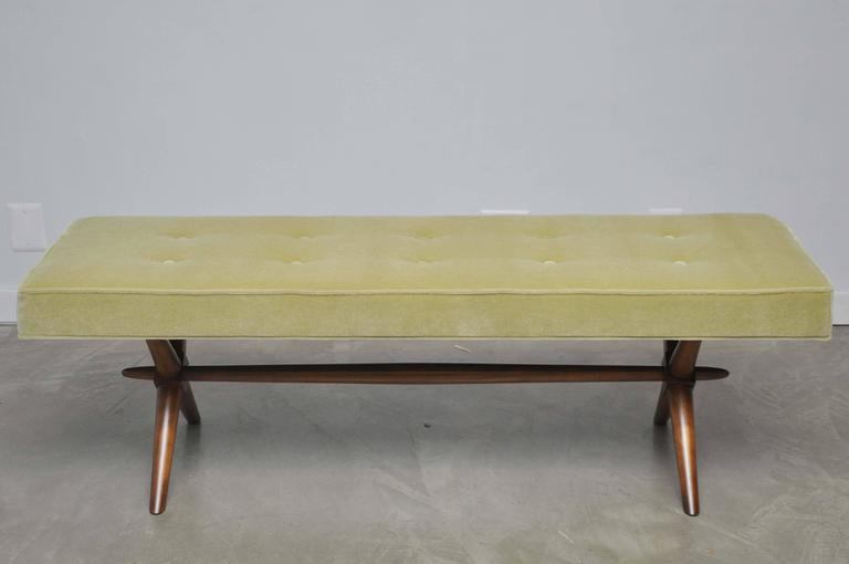 20th Century T.H. Robsjohn-Gibbings X-Base Bench For Sale