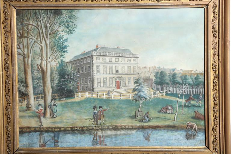 19th century Irish oil on canvas of Kilkenny Academy, Ex Collection of Ormonde Castle, Seat of The Butlers.