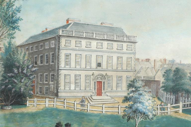 19th Century Irish Oil on Canvas of Kilkenny Academy In Excellent Condition For Sale In New York, NY