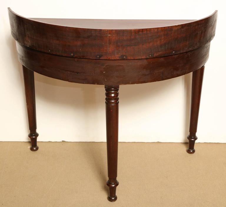 Mid 19th Century Irish Reverse Demilune Mahogany Desk At