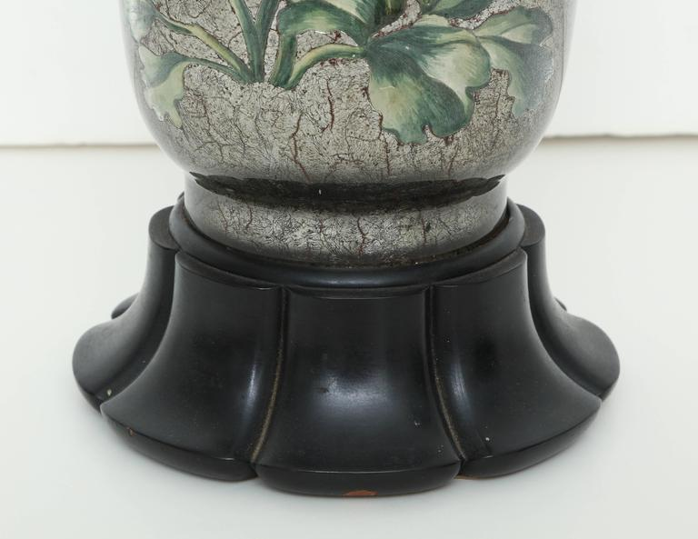 English Silvered Glass Decoupage Lamp 3