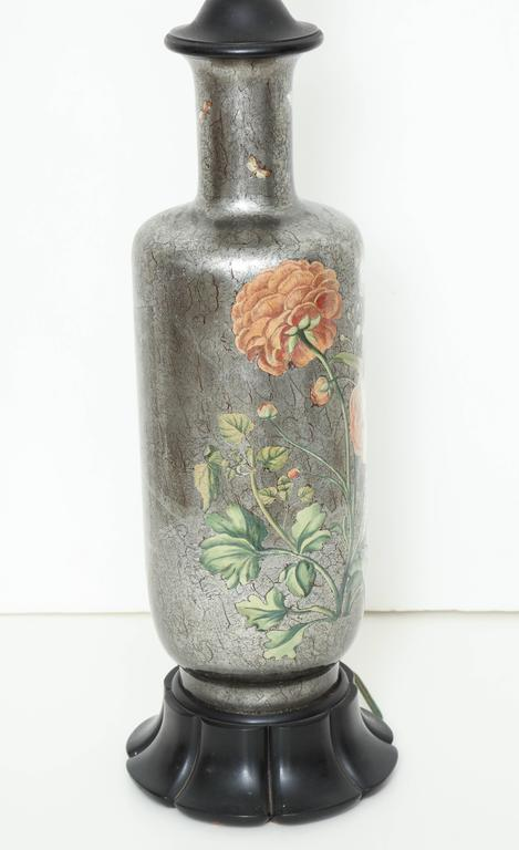 English Silvered Glass Decoupage Lamp 7