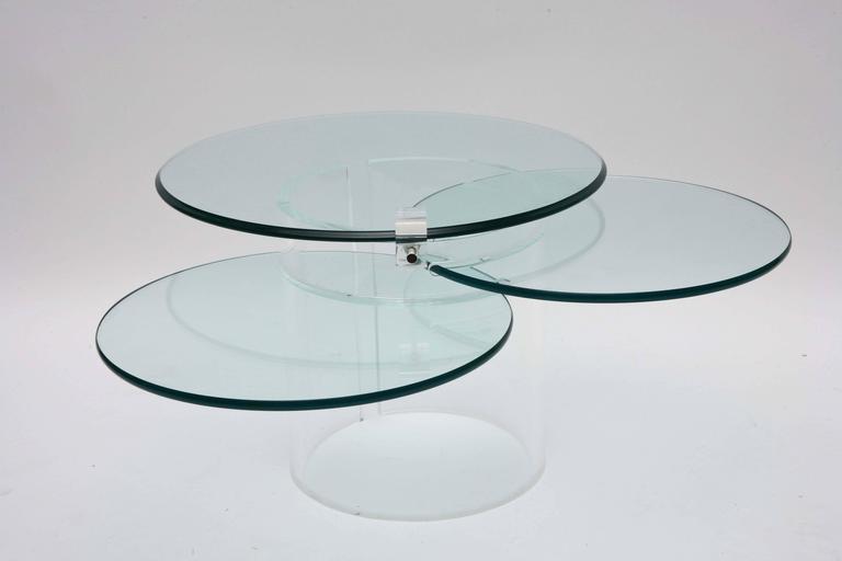 Circular three-tiered coffee table.