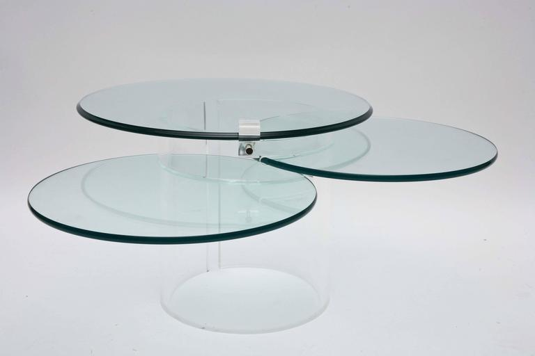 Mid-Century Modern Three-Tiered Lucite Coffee Table, 1970s, USA For Sale