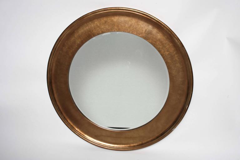 Bronze Wall Mirror: Vintage Oggetti Hollywood Regency Bronze Beveled Round