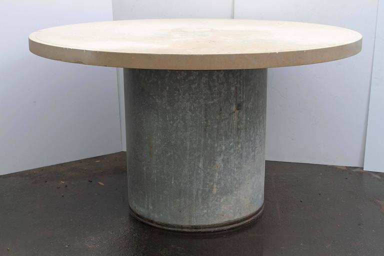 Industrial Galvanized Metal And Limestone Garden Table At