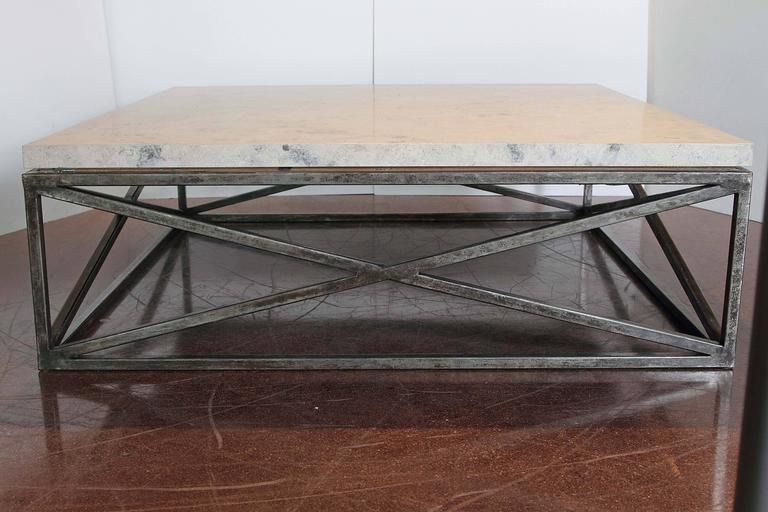 "marble limestone transitional ""x"" base coffee table for sale at"
