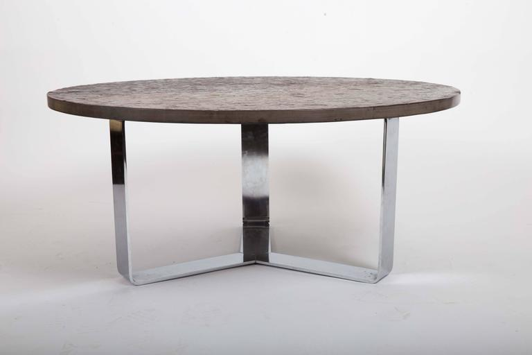 20th Century Slate Coffee Table Set on Chrome Base For Sale
