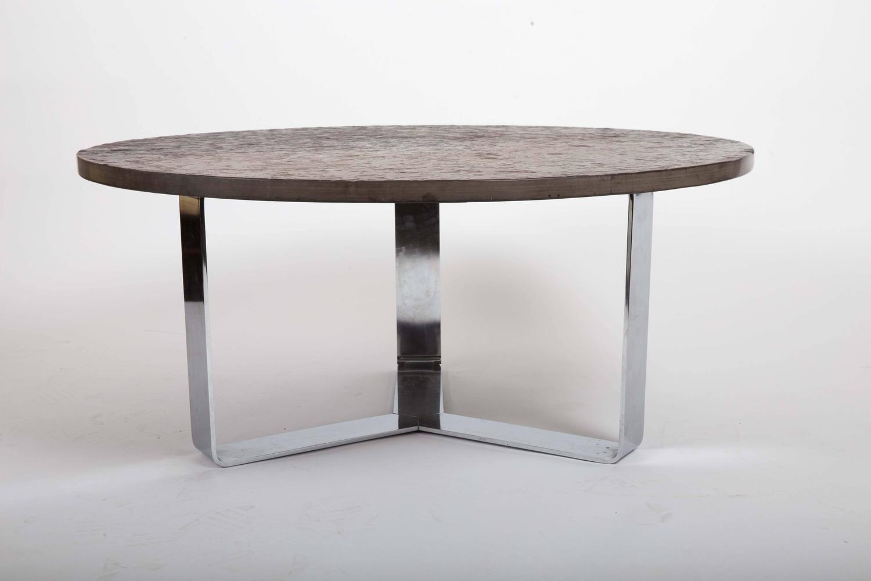 Slate Coffee Table Set On Chrome Base For Sale At 1stdibs