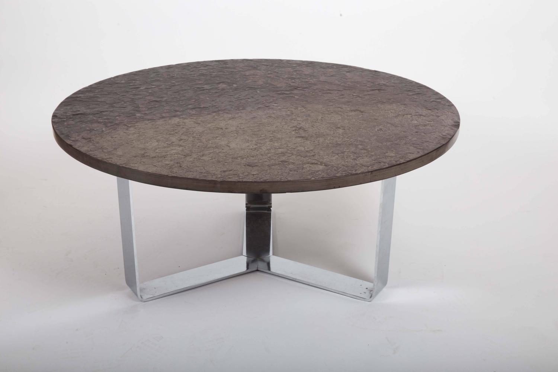slate coffee table set on chrome base for sale at 1stdibs. Black Bedroom Furniture Sets. Home Design Ideas