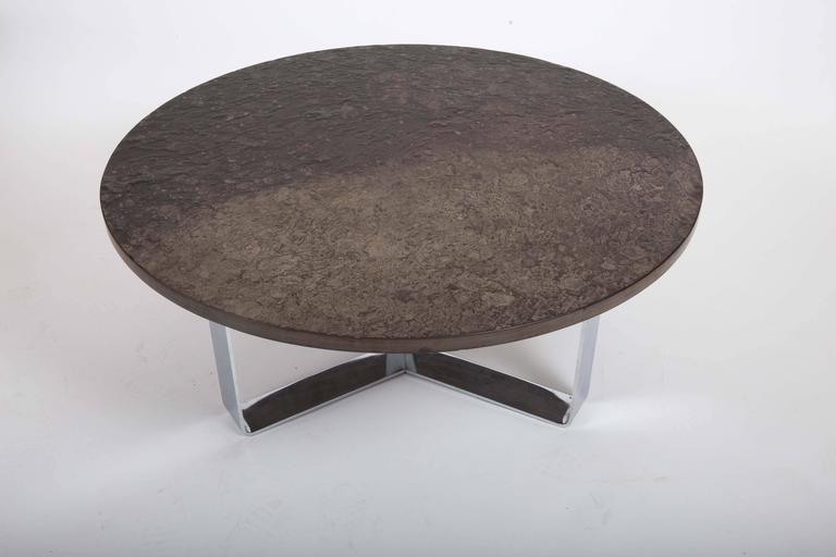 Slate Coffee Table Set on Chrome Base For Sale 2