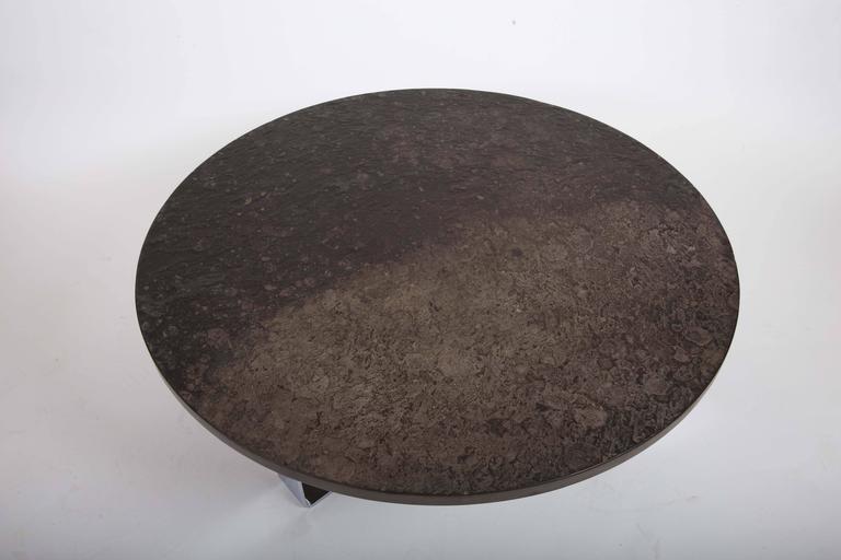 Slate Coffee Table Set on Chrome Base For Sale 5