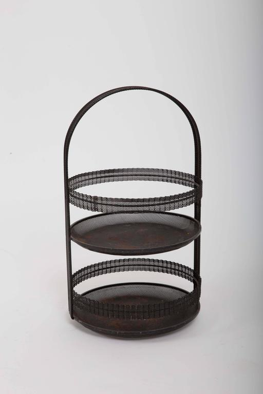 French Pierced Metal Centerpiece by Mathieu Matégot For Sale
