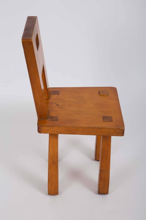 Set of Six Rustic Wooden Dining Chairs 4