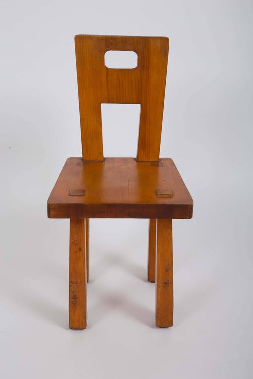 Set of Six Rustic Wooden Dining Chairs 7