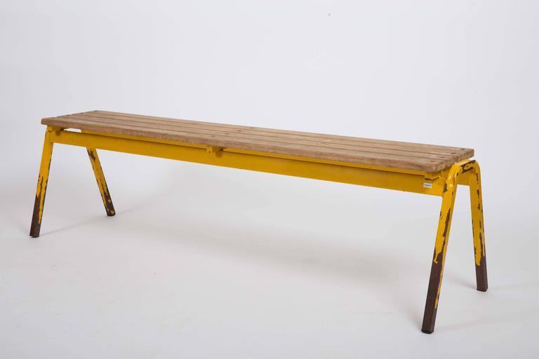 French Vintage Industrial School Bench For Sale