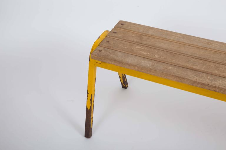 Vintage Industrial School Bench In Excellent Condition For Sale In East Hampton, NY