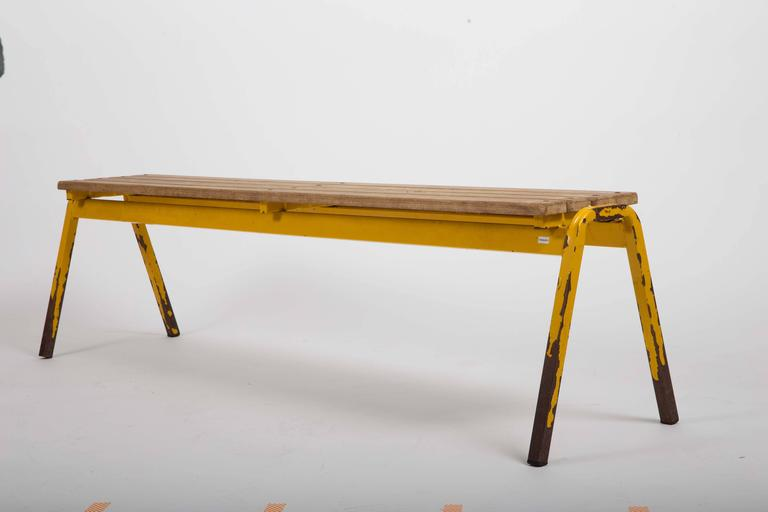 Vintage Industrial School Bench For Sale 5