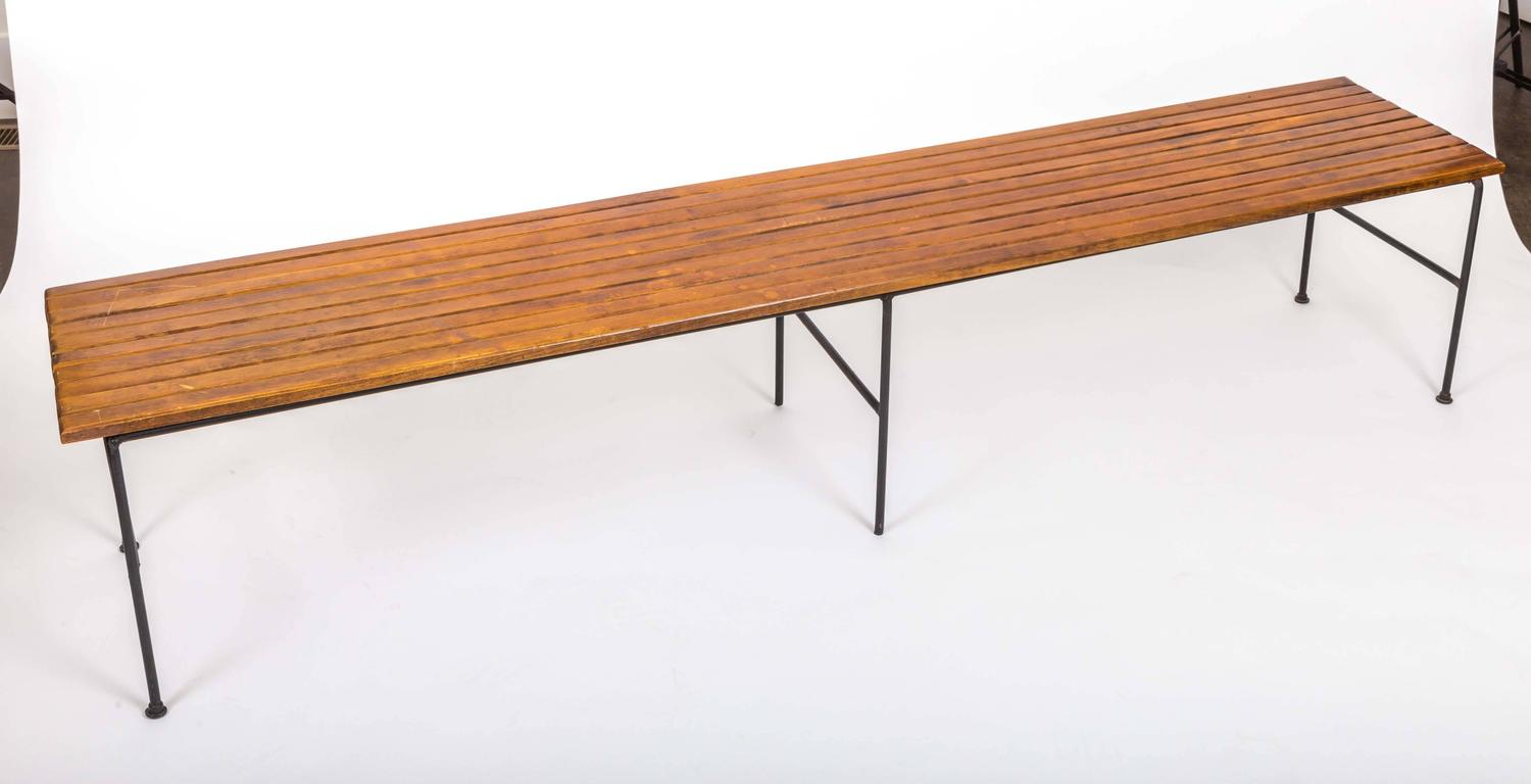 Wooden Slatted Bench By Arthur Umanoff For Sale At 1stdibs