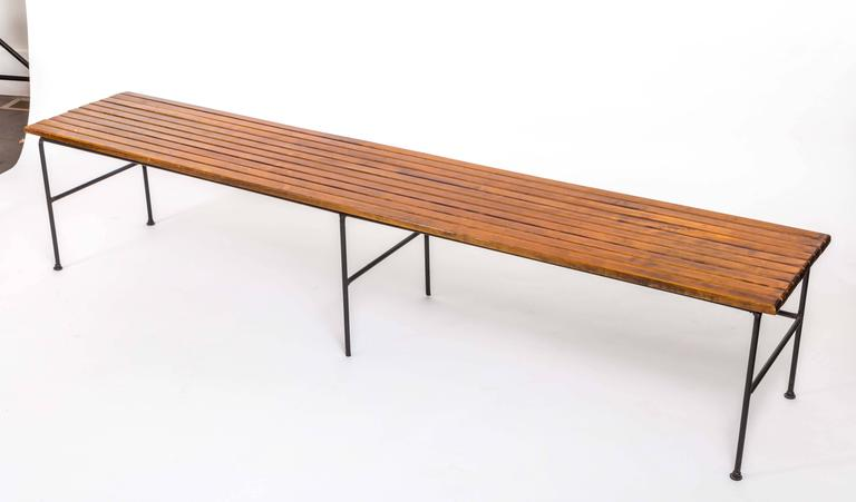Wooden Slatted Bench by Arthur Umanoff 3
