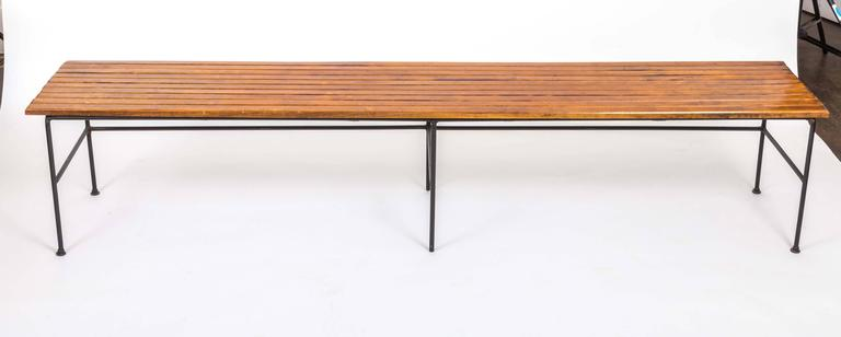 Wooden Slatted Bench by Arthur Umanoff 4