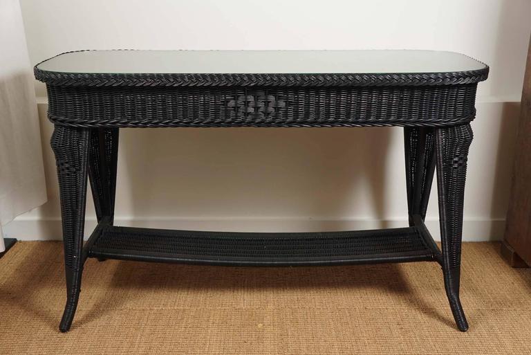 Black Wicker Sofa Table