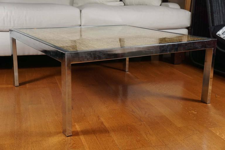 Square Mid-Century, polished chrome and wicker coffee table.