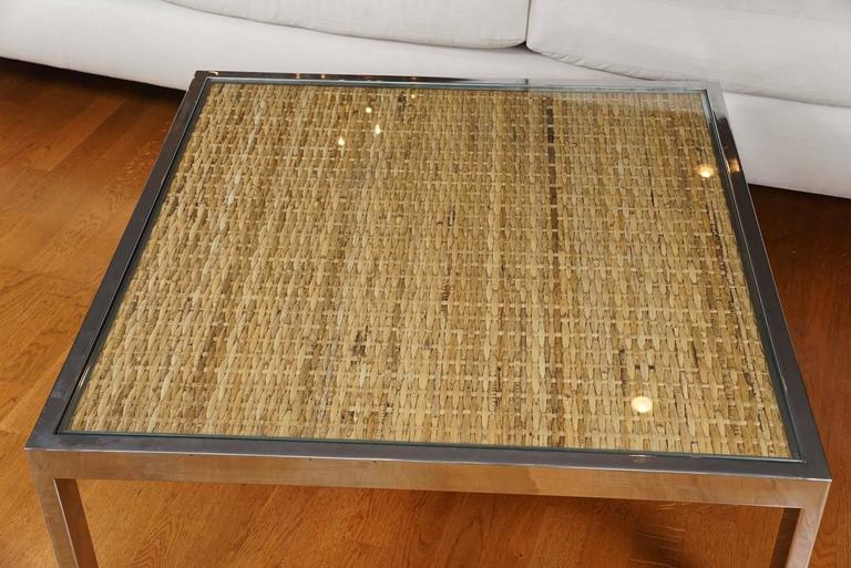 Mid-Century Modern Square Chrome and Wicker Coffee Table For Sale