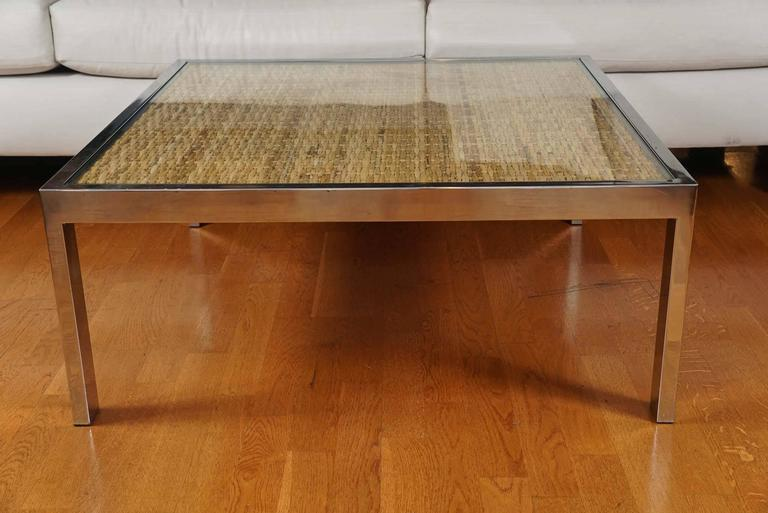 Late 20th Century Square Chrome and Wicker Coffee Table For Sale