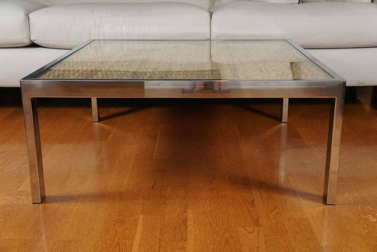 Square Chrome and Wicker Coffee Table For Sale 1
