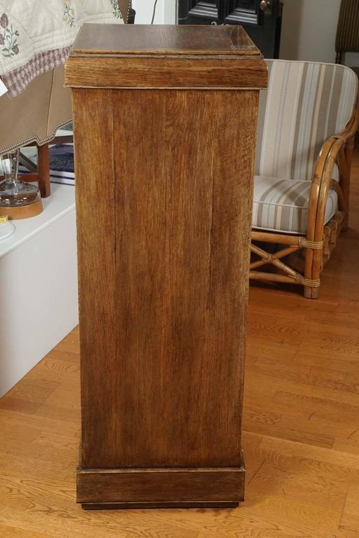 Solid oak pedestal, with beveled and mitered detailing. Designed by Mary Cunningham.